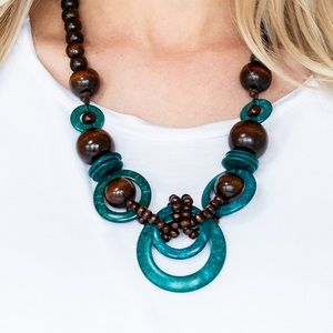 Turquoise & Brown Wood Bead Necklace Earring NWT